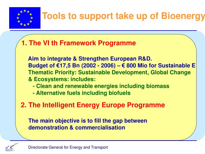 Tools to support take up of Bioenergy