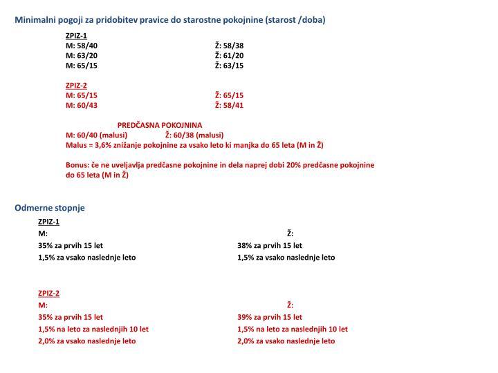 Minimalni pogoji za pridobitev pravice do starostne pokojnine (starost /doba)