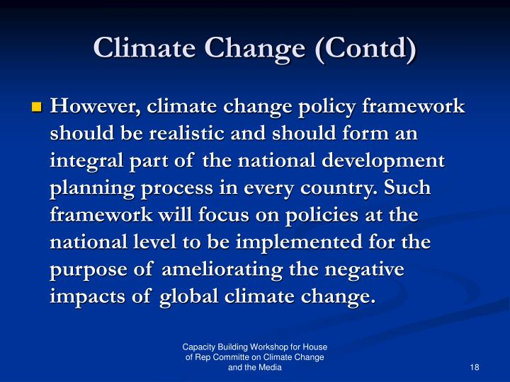 Climate Change (Contd)