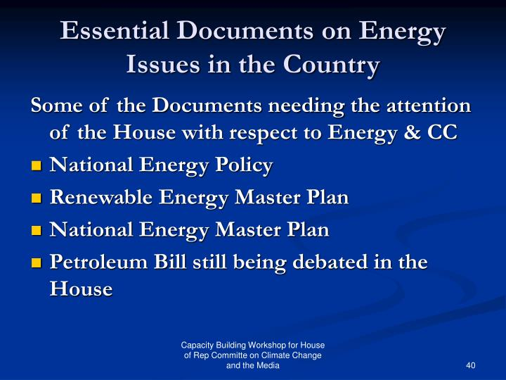 Essential Documents on Energy Issues in the Country
