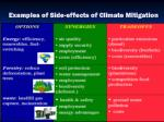 examples of side effects of climate mitigation