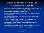 issues to be addressed by the commission contd