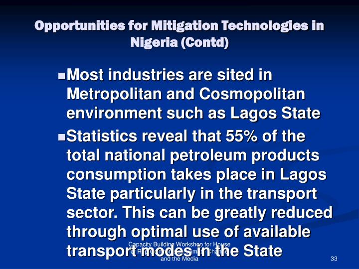 Opportunities for Mitigation Technologies in Nigeria (Contd)