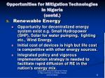 opportunities for mitigation technologies in nigeria contd3