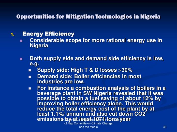 Opportunities for Mitigation Technologies in Nigeria