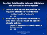 two way relationship between mitigation and sustainable development