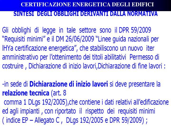 CERTIFICAZIONE ENERGETICA DEGLI EDIFICI