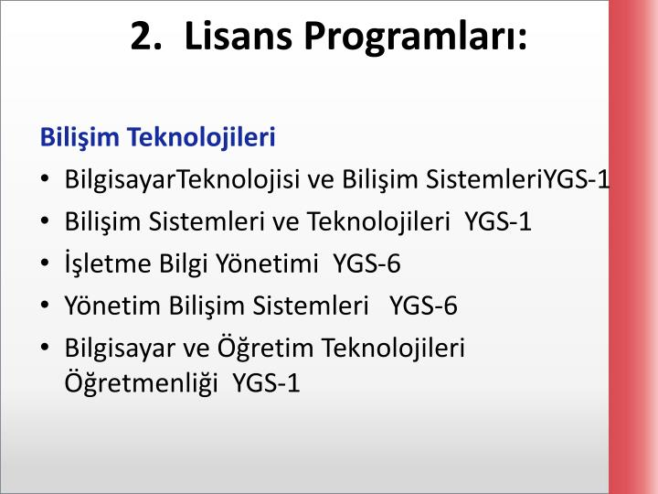 2.  Lisans Programları: