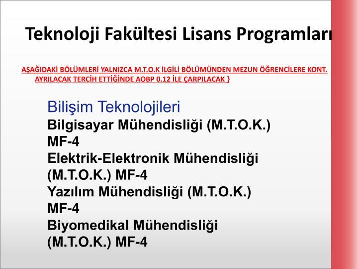 Teknoloji Fakültesi Lisans Programları