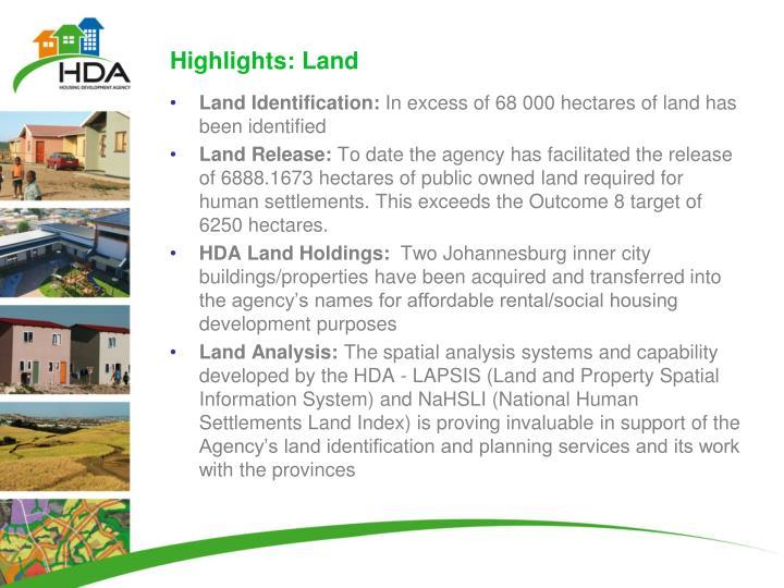 Highlights: Land