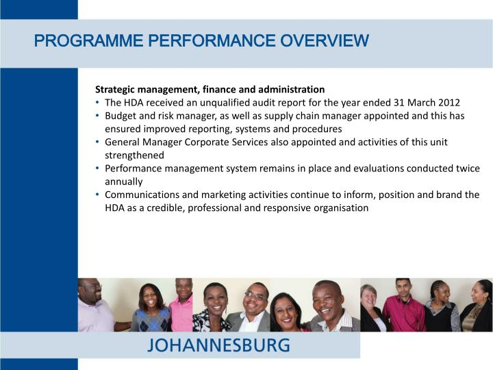 PROGRAMME PERFORMANCE OVERVIEW