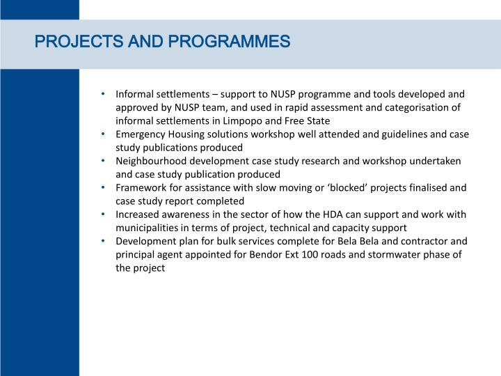 PROJECTS AND PROGRAMMES