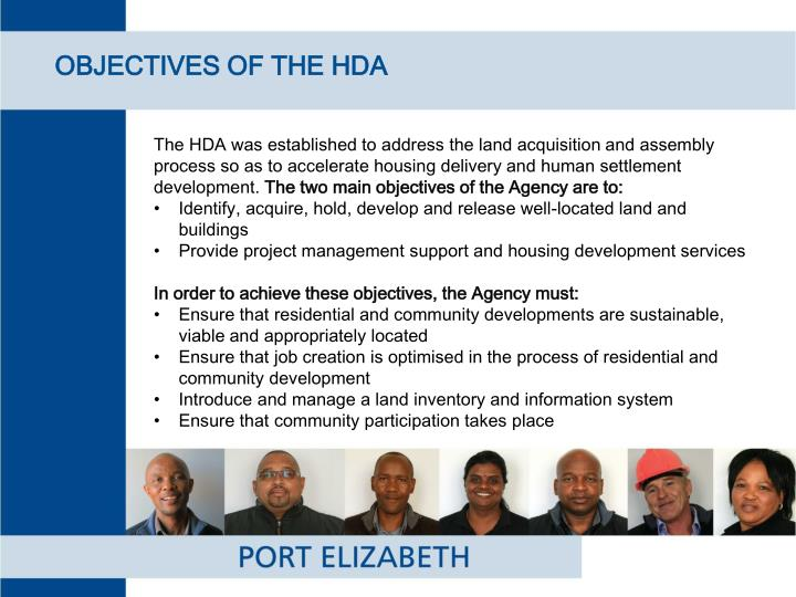 OBJECTIVES OF THE HDA