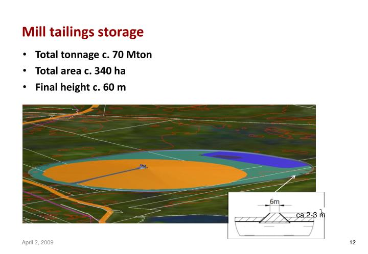 Mill tailings storage