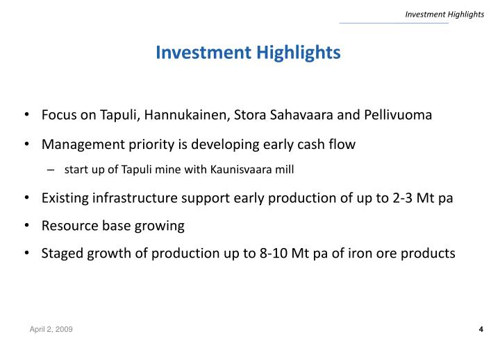 Investment Highlights