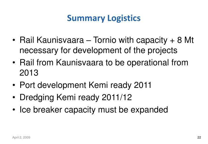 Summary Logistics
