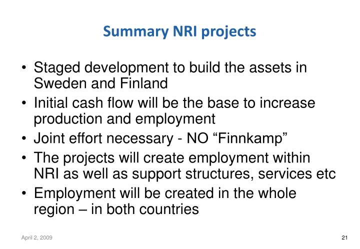 Summary NRI projects