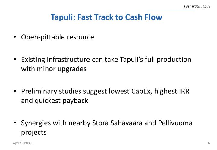 Tapuli: Fast Track to Cash Flow