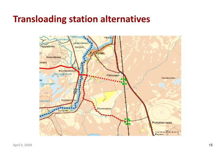 Transloading station alternatives