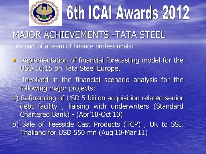 MAJOR ACHIEVEMENTS -TATA STEEL