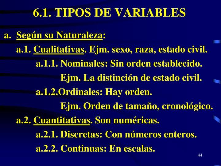 6.1. TIPOS DE VARIABLES