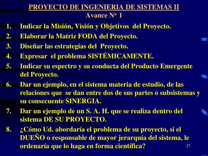 PROYECTO DE INGENIERIA DE SISTEMAS II
