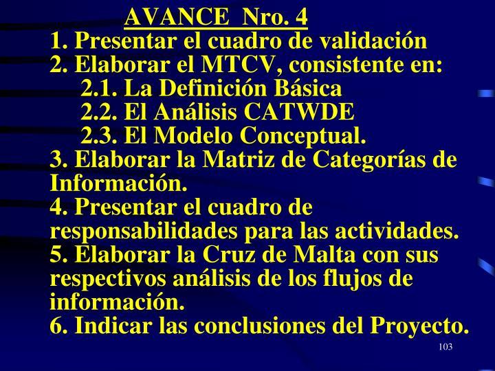 AVANCE  Nro. 4