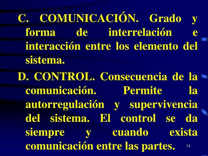 C. COMUNICACIÓN. Grado y forma de interrelación e interacción entre los elemento del sistema.