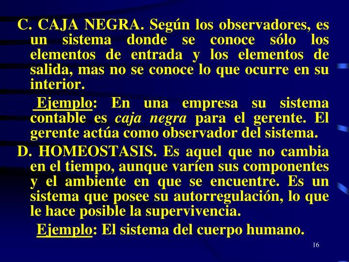 C. CAJA NEGRA. Según los observadores, es un sistema donde se conoce sólo los elementos de entrada y los elementos de salida, mas no se conoce lo que ocurre en su interior.