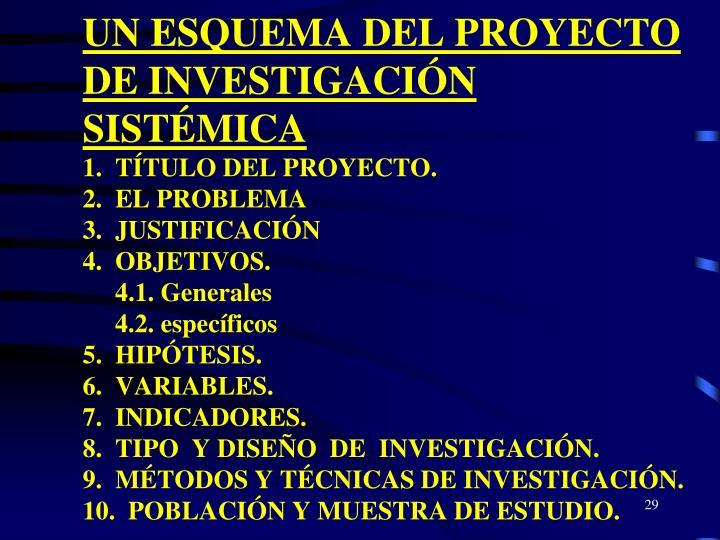 UN ESQUEMA DEL PROYECTO DE INVESTIGACIÓN SISTÉMICA
