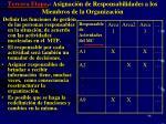 tercera etapa asignaci n de responsabilidades a los miembros de la organizaci n