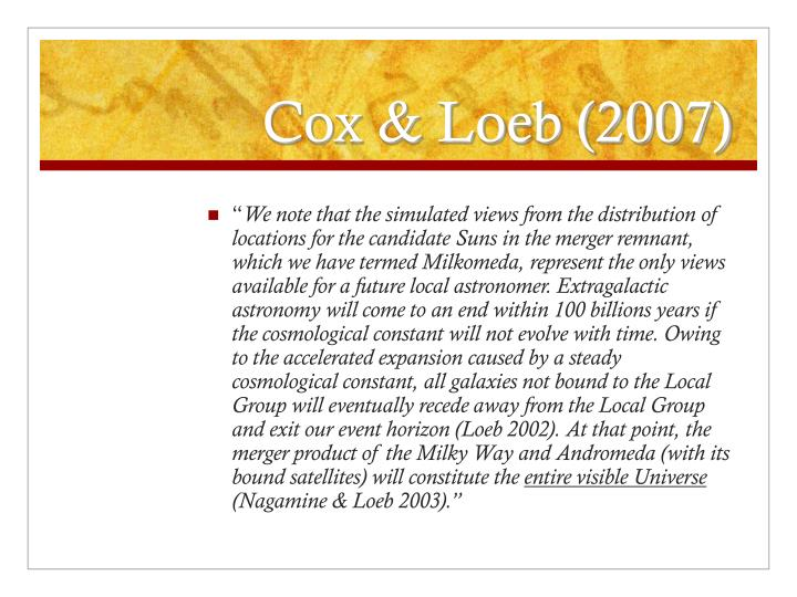Cox & Loeb (2007)