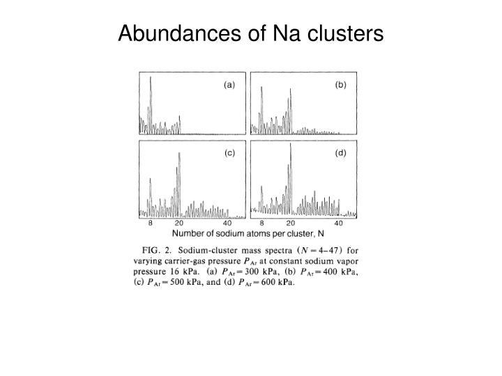 Abundances of Na clusters