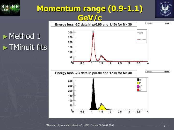 Momentum range (0.9-1.1) GeV/c