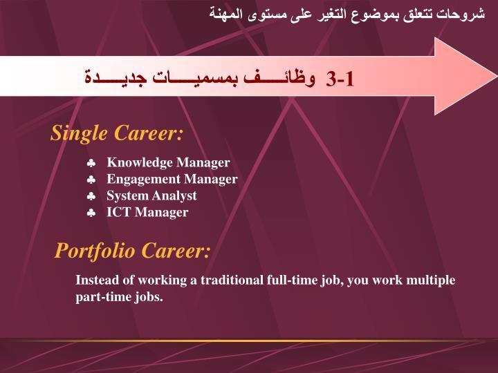 شروحات تتعلق بموضوع التغير على مستوى المهنة