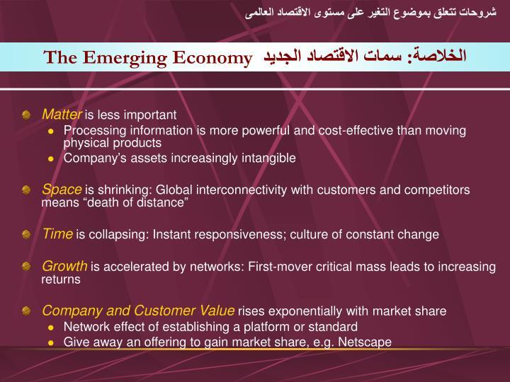 شروحات تتعلق بموضوع التغير على مستوى الاقتصاد العالمى