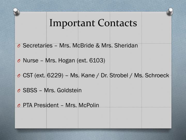 Important Contacts