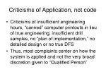 criticisms of application not code