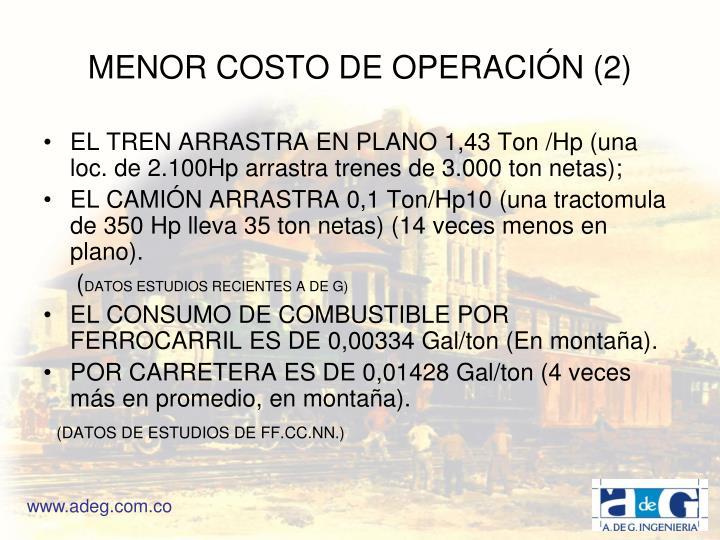MENOR COSTO DE OPERACIÓN (2)