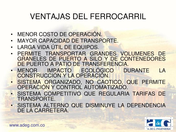 VENTAJAS DEL FERROCARRIL