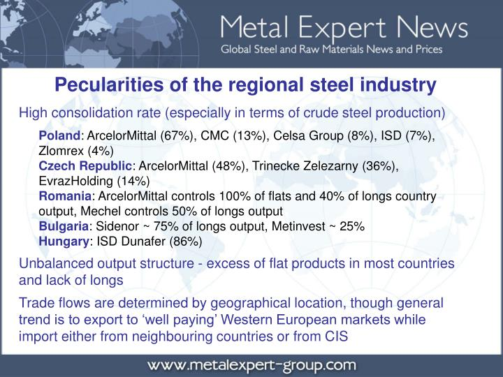 Pecularities of the regional steel industry