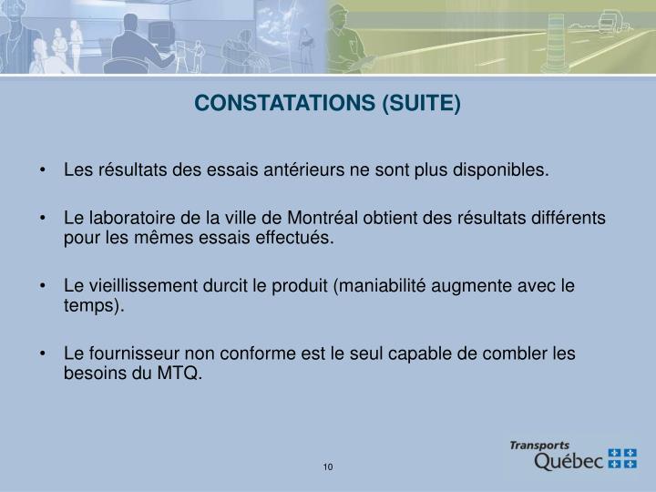 CONSTATATIONS (SUITE)