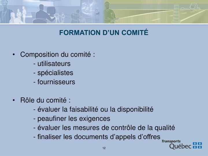 FORMATION D'UN COMITÉ