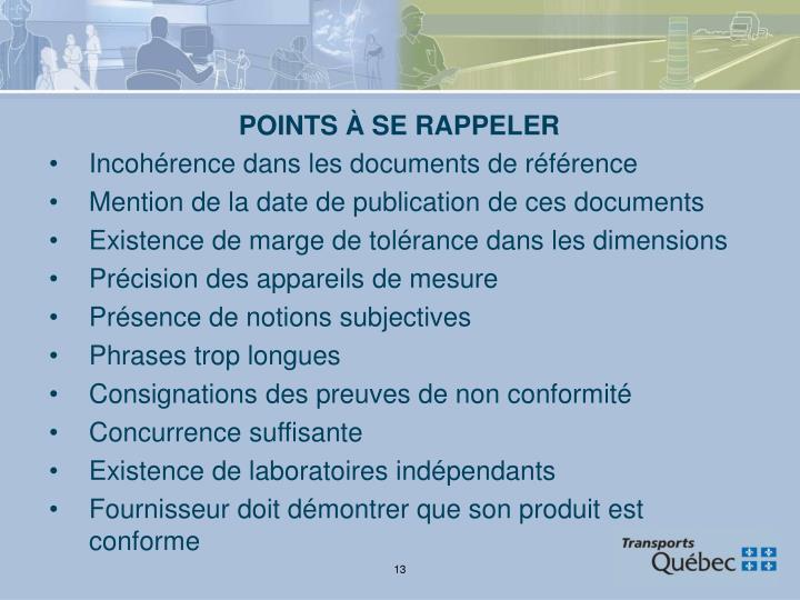 POINTS À SE RAPPELER