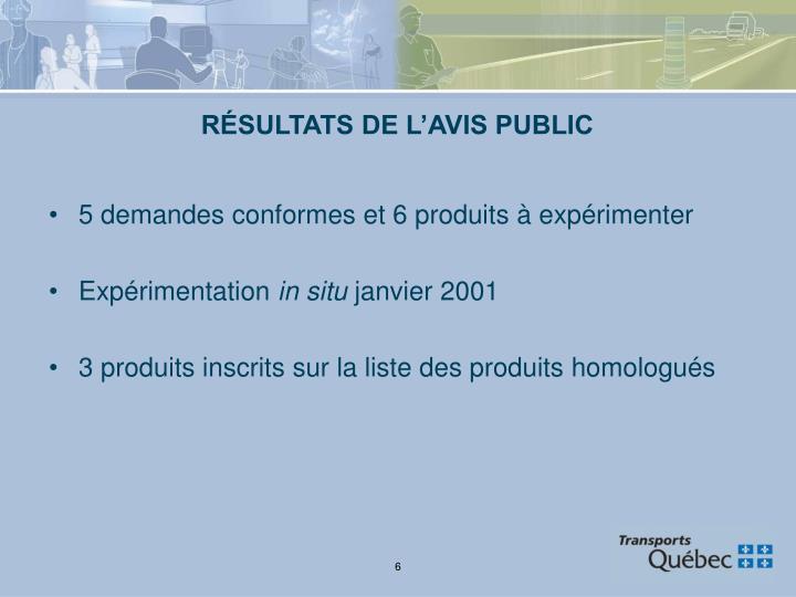 RÉSULTATS DE L'AVIS PUBLIC