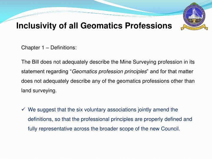 Inclusivity of all Geomatics Professions