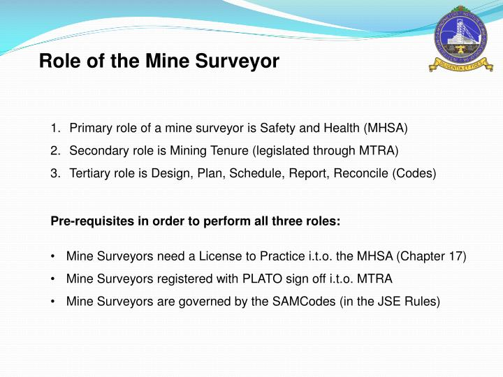 Role of the Mine Surveyor