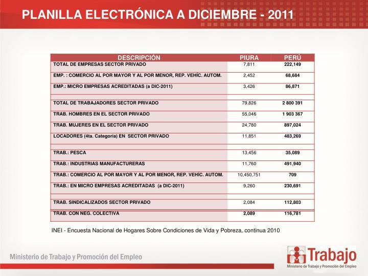 PLANILLA ELECTRNICA A DICIEMBRE - 2011