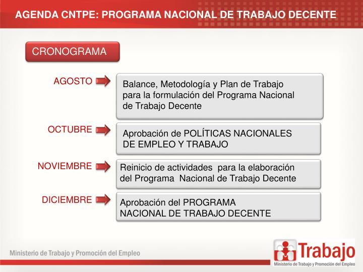 AGENDA CNTPE: PROGRAMA NACIONAL DE TRABAJO DECENTE