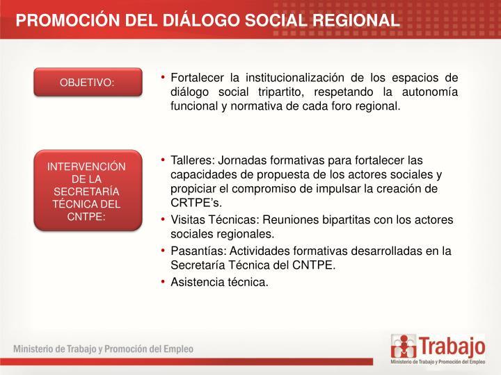 PROMOCIN DEL DILOGO SOCIAL REGIONAL